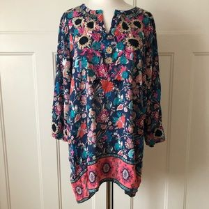 $128~FEATHERS by Tolani~Anthropologie Tunic Top~XL